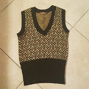 Yves Saint Laurent Black/Gold Sleeveless Sweater